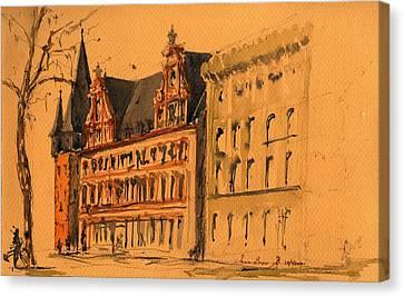Saalhof And The Rententurm Frankfurt Am Main Canvas Print by Juan  Bosco
