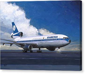 Sabena Dc-10 At Kinshasa Canvas Print