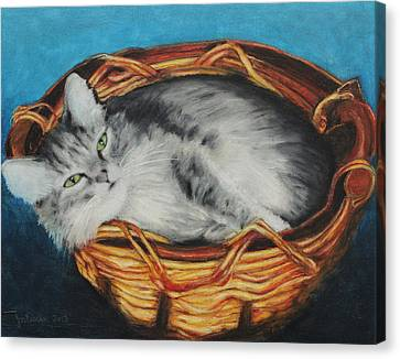 Sabrina In Her Basket Canvas Print by Jeanne Fischer