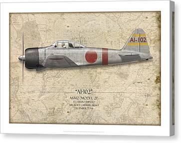 Saburo Shindo A6m Zero - Map Background Canvas Print by Craig Tinder