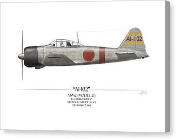 Saburo Shindo A6m Zero - White Background Canvas Print by Craig Tinder