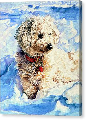 Dogs In Snow Canvas Print - Sacha by Hanne Lore Koehler