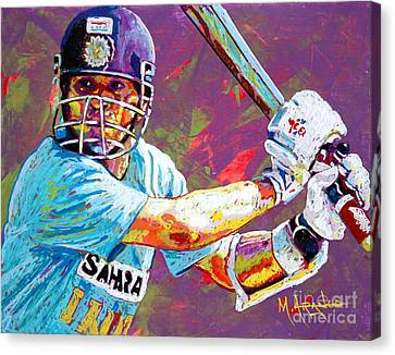 India Canvas Print - Sachin Tendulkar by Maria Arango