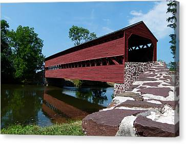 Canvas Print featuring the photograph Sachs Covered Bridge by Cindy McDaniel