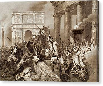 Sack Of Rome By The Visigoths Led By Alaric I In 410 Canvas Print by Bridgeman Images