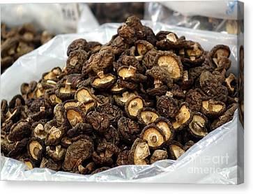 Sacks With Dried Mushrooms Canvas Print by Yali Shi