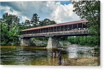 Canvas Print featuring the photograph Saco River Covered Bridge  by Debbie Green