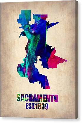 Sacramento Canvas Print - Sacramento Watercolor Map by Naxart Studio