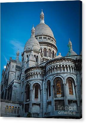 Sacre-coeur At Night Canvas Print by Inge Johnsson
