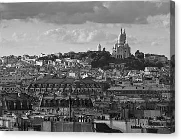 Sacre Coeur Over Rooftops Black And White Version Canvas Print by Gary Eason