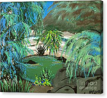 Canvas Print featuring the painting Sacred Cenote At Chichen Itza by Alys Caviness-Gober