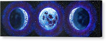 Wiccan Canvas Print - Sacred Feminine Blue Moon by Shelley Irish