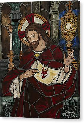 Sacred Heart Of Jesus Canvas Print by Greg Willits