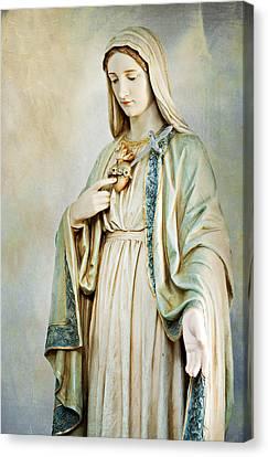 Sacred Heart Of Mary Canvas Print by Karen Varnas