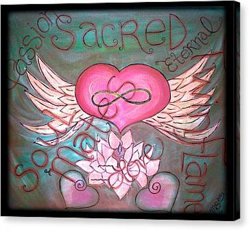 Sacred Soulmates And Twin Flames Canvas Print by Absinthe Art By Michelle LeAnn Scott