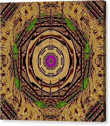 Chained Canvas Print - Sacred Wodden Floral Mandala Temple by Pepita Selles