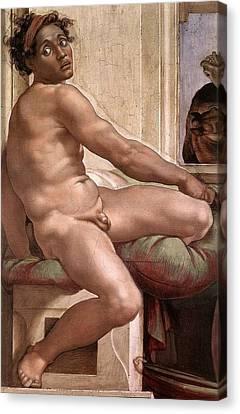 Sacrifice Of Noah - Ignudo Detail Canvas Print by Michelangelo Buonarroti