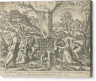 Sacrifice Of Noah, Attributed To Symon Novelanus Canvas Print by Symon Novelanus