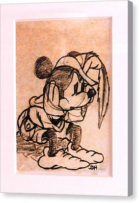 Canvas Print featuring the drawing Sad Mickey by Joseph Hawkins