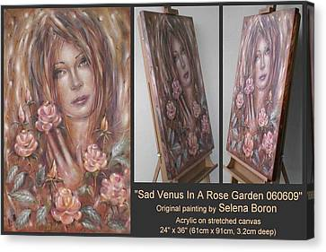 Canvas Print featuring the painting Sad Venus In A Rose Garden 060609 by Selena Boron