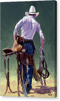 Saddle Bronc Rider Canvas Print by Randy Follis