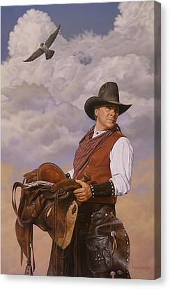 Canvas Print featuring the painting Saddle 'em Up by Ron Crabb