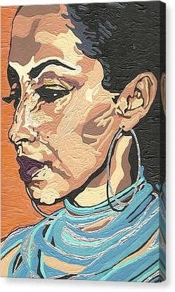 Canvas Print featuring the painting Sade Adu by Rachel Natalie Rawlins