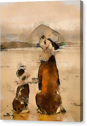 Canvas Print featuring the painting Sadness  by Georgi Dimitrov
