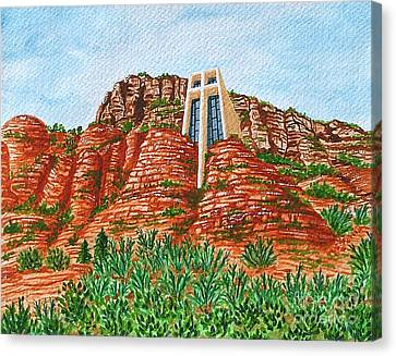 Canvas Print featuring the painting Sadona Church by Val Miller