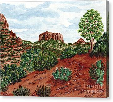 Canvas Print featuring the painting Sadona Two Mountains by Val Miller