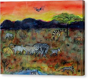 Safari In The Masia Mara Canvas Print
