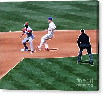 Safe At Second Base Canvas Print by Terry Weaver