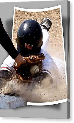 Safe At Third Canvas Print by Jim Finch