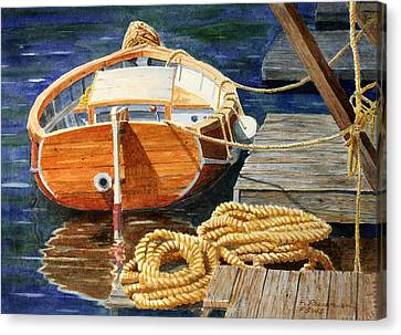 Canvas Print featuring the painting Safe Mooring by Roger Rockefeller