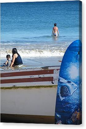Canvas Print featuring the photograph Safe To Go In The Water by Brian Boyle