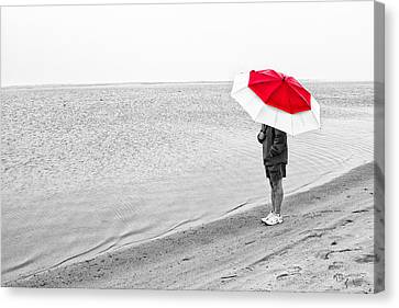 Safe Under The Umbrella Canvas Print by Karol Livote