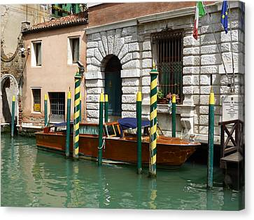 Venice Canvas Print - Safely Moored by Bishopston Fine Art