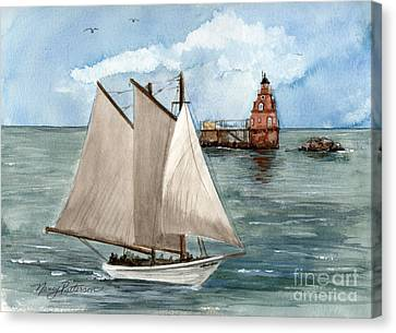 Canvas Print featuring the painting Safely Past The Shoal  by Nancy Patterson