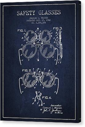 Glass Wall Canvas Print - Safety Glasses Patent From 1942 - Navy Blue by Aged Pixel