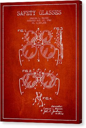 Safety Glasses Patent From 1942 - Red Canvas Print by Aged Pixel