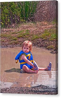 Canvas Print featuring the photograph Safety Is Important - Toddler In Mudpuddle Art Prints by Valerie Garner