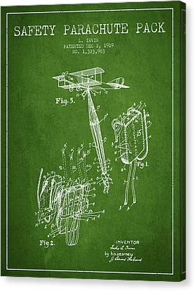 Safety Parachute Patent From 1919 - Green Canvas Print by Aged Pixel