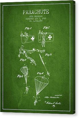 Safety Parachute Patent From 1925 - Green Canvas Print by Aged Pixel