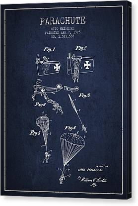 Safety Parachute Patent From 1925 - Navy Blue Canvas Print by Aged Pixel