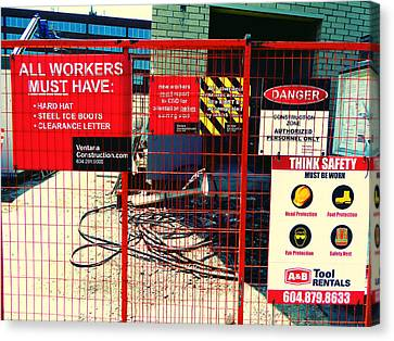 Canvas Print featuring the photograph Safety Signs by Laurie Tsemak