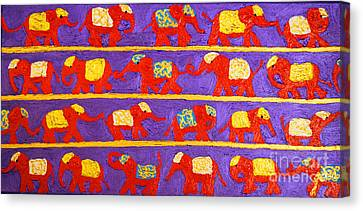 Saffron Elephants Canvas Print