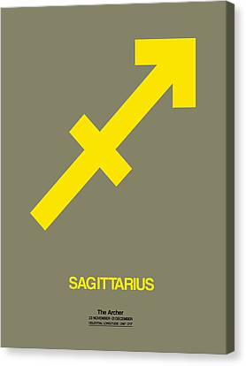 Sagittarius Zodiac Sign Yellow Canvas Print by Naxart Studio