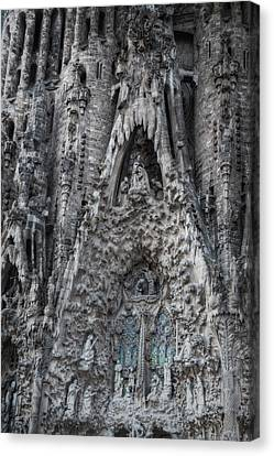 Nativity Canvas Print - Sagrada Familia Nativity Facade by Joan Carroll