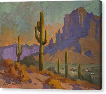 Saguaro Cactus And Apache Junction Canvas Print by Diane McClary