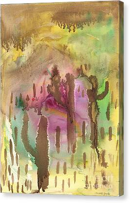 Canvas Print featuring the painting Saguaro Desert by Mukta Gupta